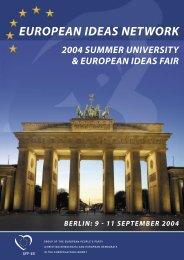 EIN's Summer University - European Ideas Network