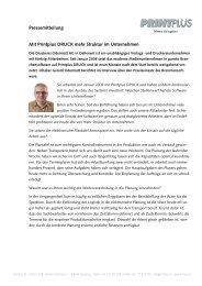Pressemitteilung Mit Printplus DRUCK mehr Struktur im Unternehmen