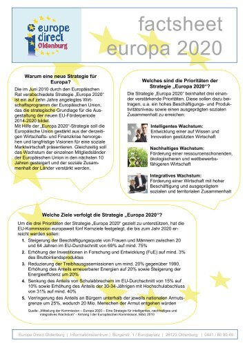 factsheet europa 2020 - EUROPE DIRECT Oldenburg