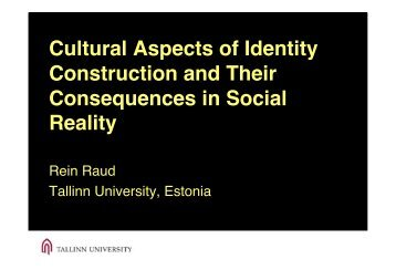 Cultural Aspects of Identity Construction and Their Consequences in ...