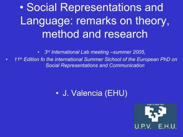 Social Representations and Language - European Doctorate on ...