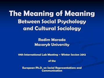The Meaning of Meaning Between Social Psychology and Cultural ...
