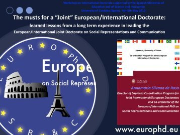 "Joint"" European/International Doctorate: learned lessons from a long ..."