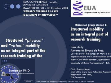 Maastricht Conference 28-10-2004 - European Doctorate on Social ...