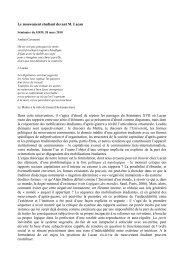 Le mouvement étudiant devant Lacan ».