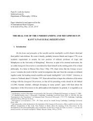 the real use of the understanding and metaphysics in kant´s ...