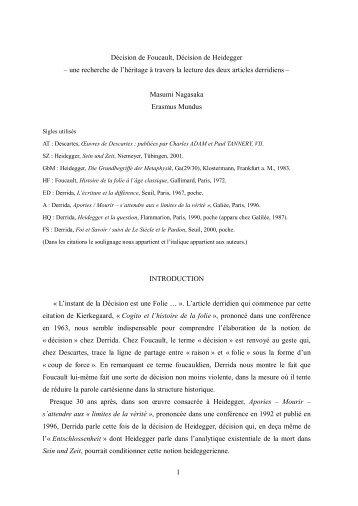 La décision de Foucault, la décision de Heidegger. Une recherche ...