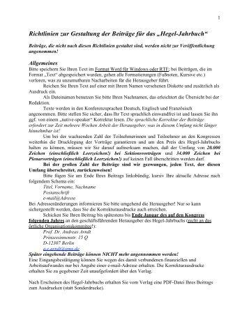 """Richtlinien zur Gestaltung der Beiträge für das """"Hegel-Jahrbuch"""""""