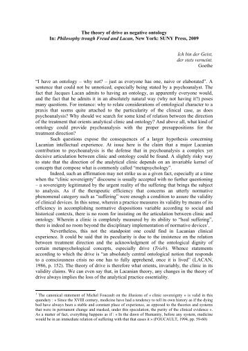 The theory of drive as negative ontology In: Philosophy trough Freud ...