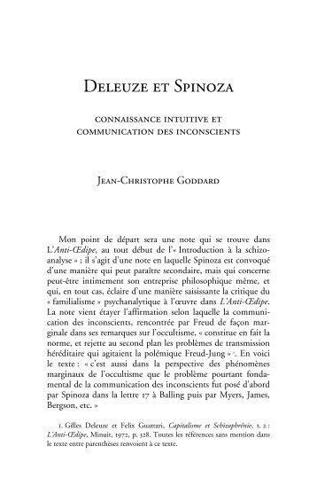 Deleuze et Spinoza