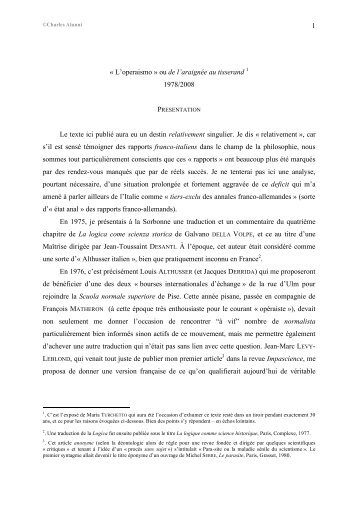 1 « L'operaismo » ou de l'araignée au tisserand 1 1978/2008 Le ...
