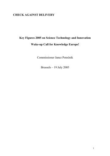 Key Figures 2005 on Science Technology and Innovation - Eurosfaire