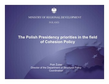 The Polish Presidency priorities in the field of Cohesion Policy