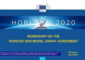 workshop on the horizon 2020 model grant agreement - Eurosfaire