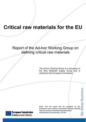 Critical raw materials for the EU - European Commission - Europa