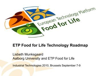 ETP Food for Life Technology Roadmap - Eurosfaire