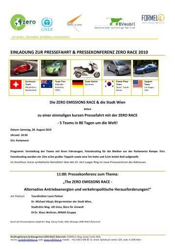 Zero Race Pressprogram Austria Vienna - Eurosolar Austria