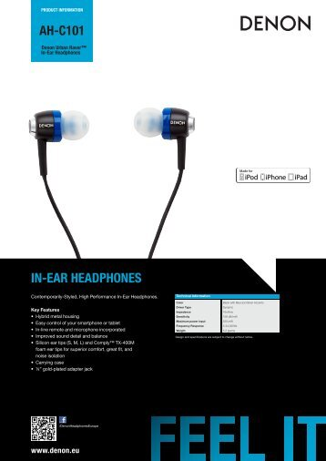 AH-C101 IN-EAR HEADPHONES - Eurostar Ostrava, s. r. o.