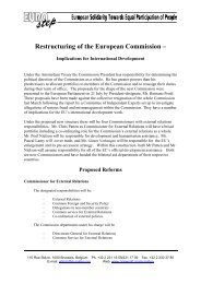 Restructuring of the European Commission – - Eurostep