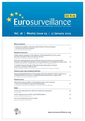 Vol. 18 | Weekly issue 03 | 17 January 2013 - Eurosurveillance