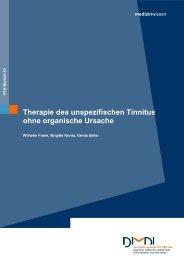 Therapie des unspezifischen Tinnitus ohne organische Ursache