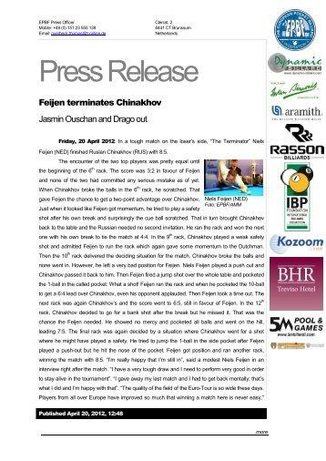 Eurotour 2012 - Italy Open - Treviso - Press Release