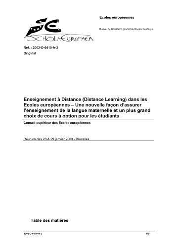 Enseignement à Distance (Distance Learning) dans les Ecoles ...