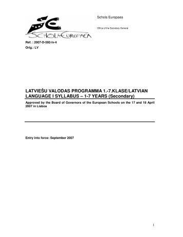 LATVIEŠU VALODAS PROGRAMMA 1.-7 ... - Schola Europaea