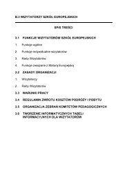 B.3 WIZYTATORZY SZKÓŁ EUROPEJSKICH SPIS TREŚCI 3.1 ...