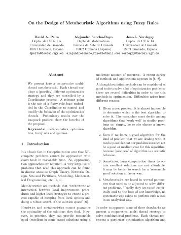 On the Design of Metaheuristic Algorithms using Fuzzy ... - EUSFLAT