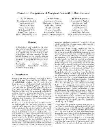 Transitive Comparison of Marginal Probability Distributions - EUSFLAT
