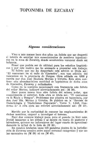 TOPONIMIA DE EZ GARAY - Euskaltzaindia