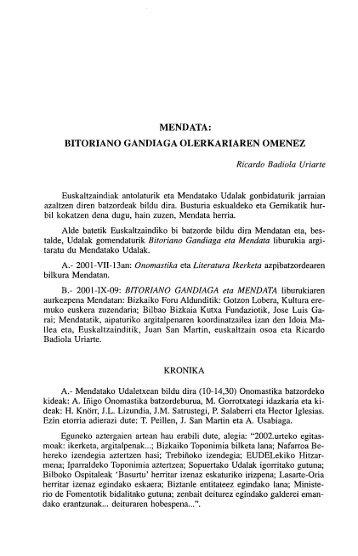mendata: bitoriano gandiaga olerkariaren omenez - Euskaltzaindia