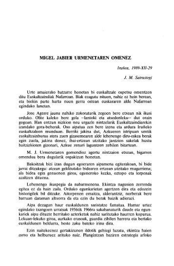 MIGEL JABIER URMENETAREN OMENEZ - Euskaltzaindia