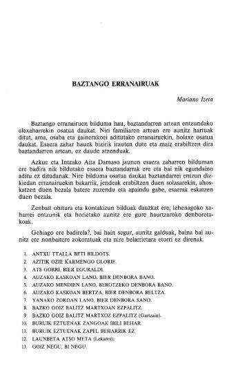 BAZTANGO ERRANAIRUAK - Euskaltzaindia