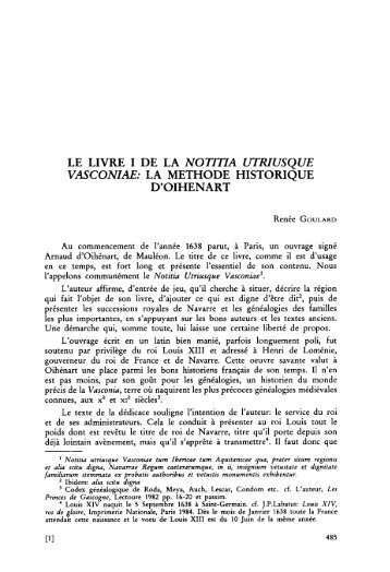 LE LIVRE I DE LA NOTITIA UTRIUSQUE ... - Euskaltzaindia