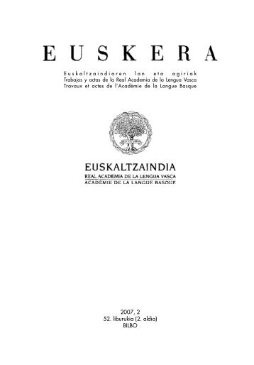 2007, 2 52. liburukia (2. aldia) BILBO - Euskaltzaindia