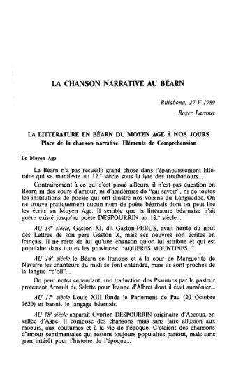 LA CHANSON NARRATIVE AU BÉARN - Euskaltzaindia