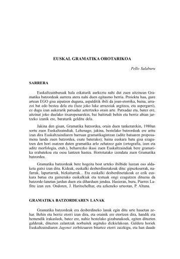 EUSKAL GRAMATIKA OROTARIKOA - Euskaltzaindia