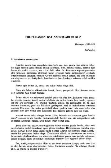 PROPOSAMEN BAT AZENTUARI BURUZ - Euskaltzaindia