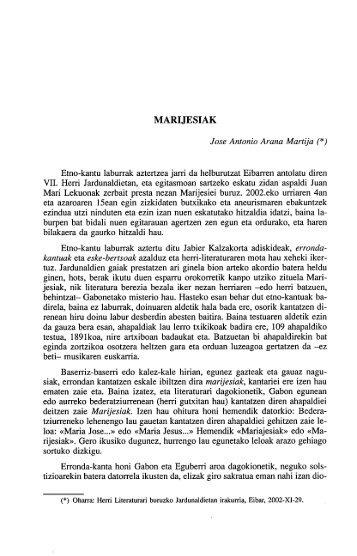 MARIJESIAK Etno-kantu laburrak aztertzea jarri da ... - Euskaltzaindia