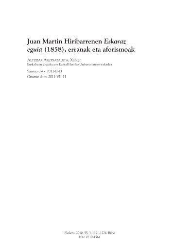 Juan Martin Hiribarrenen Eskaraz eguia (1858 ... - Euskaltzaindia