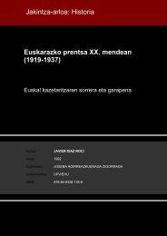 Euskarazko prentsa XX. mendean (1919-1937) Jakintza-arloa ...