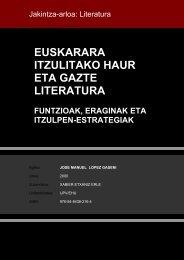 EUSKARARA ITZULITAKO HAUR ETA GAZTE LITERATURA