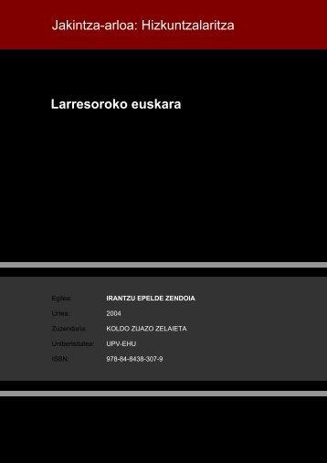 Jakintza-arloa: Hizkuntzalaritza Larresoroko euskara
