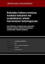 Eskolako hizkera ereduaz, euskara batuaren eta euskalkiaren ...