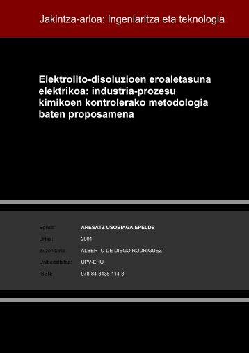 Elektrolito-disoluzioen eroaletasuna elektrikoa: industria ... - Euskara
