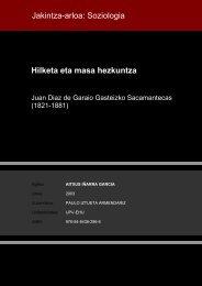 Hilketa eta masa hezkuntza Jakintza-arloa: Soziologia - Euskara