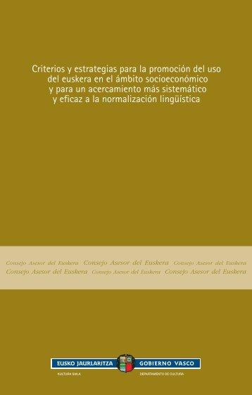 Criterios y estrategias para la promoción del uso del euskera en el ...