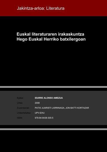 Euskal literaturaren irakaskuntza Hego Euskal Herriko ... - Euskara